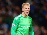 Man City's Joe Hart in action against Viktoria Plzen during their Champions League group match on November 27, 2013