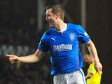 Jon Daly of Rangers celebrates scoring his goal during the Scottish League One match between Rangers and Dunfermline at Ibrox Stadium on November 6, 2013