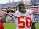 Justin Houston of the Kansas City Chiefs celebrates after the game against the Tennessee Titans at LP Field on October 6, 2013