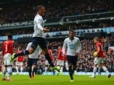 Tottenham Hotspur right-back Kyle Walker celebrates scoring the opening goal against Manchester United in their Premier League game at White Hart Lane on December 1, 2013