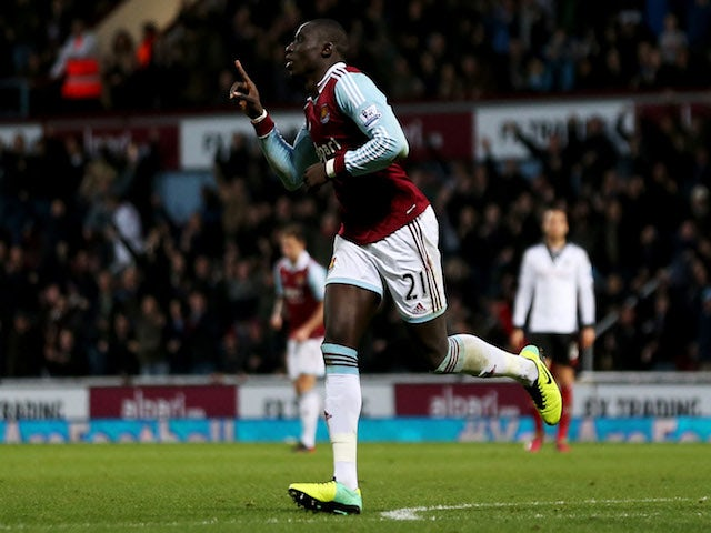 Mohamed Diame of West Ham United celebrates the first goal during the Barclays Premier League match between West Ham United and Fulham at Boleyn Ground on November 30, 2013
