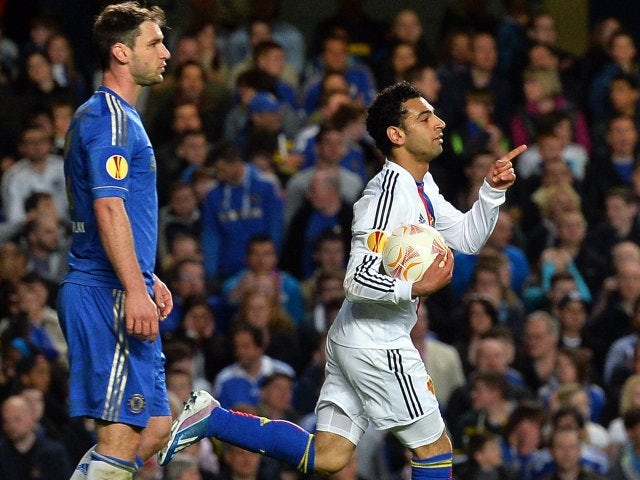 Mohamed Salah celebrates his goal for FC Basel against Chelsea on May 02, 2012.
