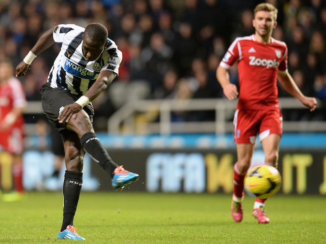 Moussa Sissoko of Newcastle United scores his team's second goal during the Barclays Premier League match against West Bromwich Albion on November 30, 2013