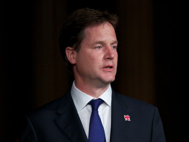 British Deputy Prime Minister Nick Clegg addresses a Olympic Munich memorial event at The Guildhall in London on August 6, 2012