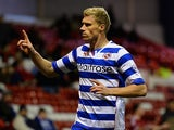 Pavel Pogrebnyak of Reading celebrates his goal during the Sky Bet Championship match between Nottingham Forest and Reading at City Ground on November 29, 2013