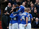 Jonson Clarke-Harris of Oldham Athletic celebrates his goal with team mates during the Sky Bet League One match between Oldham Athletic and Bradford City at Boundary Park on December 01, 2013