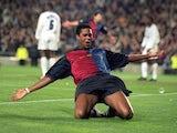 Patrick Kluivert celebrates scoring for Barcelona on April 18, 2000.