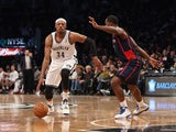 Paul Pierce #34 of the Brooklyn Nets dribbles the ball against the Detroit Pistons at the Barclays Center on November 24, 2013