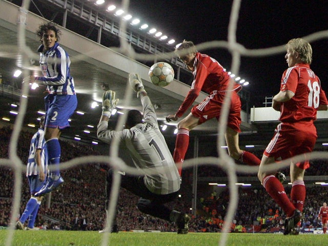Peter Crouch of Liverpool scores the fourth goal during the Uefa Champions League football match against Porto at Anfield , Liverpool, north-west England, 28 November 2007