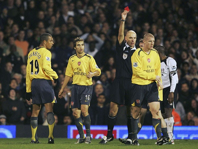Arsenal's Philippe Senderos is sent off against Fulham during their Premier League match on November 29, 2006