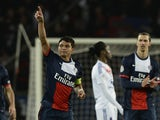 Paris Saint-Germain's Brazilian defender and captain Thiago Silva celebrates after scoring during the French L1 football match between Paris Saint-Germain (PSG) and Lyon (OL) on December 1, 2013