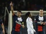 Paris Saint-Germain's Brazilian defender and captain Thiago Silva celebrates after scoring during the French L1 football match between Paris Saint-Germain (PSG) and Lyon (OL) on December 1, 2013