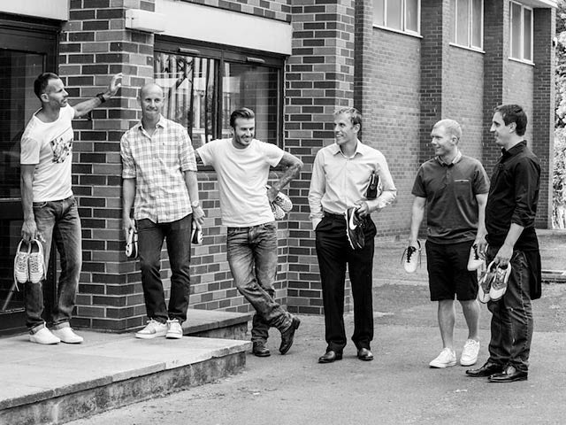 Ryan Giggs, Nicky Butt, David Beckham, Phil Neville, Paul Scholes and Gary Neville pose for a team shot during a photoshoot for the documentary 'The Class of '92'