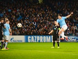 Man City's Samir Nasri scores his team's second goal against Viktoria Plzen during their Champions League group match on November 27, 2013