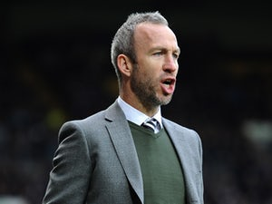 Notts County manager Shaun Derry looks on during the Sky Bet League One match between Notts County and Wolverhampton Wanderers at Meadow Lane on November 16, 2013