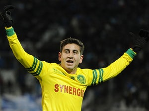 Nantes' Alejandro Bedoya celebrates after scoring the opening goal against Marseille during their Ligue 1 match on December 6, 2013