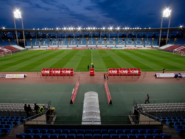 General view of Estadio de Los Juegos Mediterraneos pitch prior to start the La Liga match between UD Almeria and Real Madrid CF on November 23, 2013