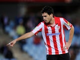 Andoni Iraola of Athletic Club reacts during the start of the La Liga match between Getafe CF and Athletic Club at Coliseum Alfonso Perez stadium on October 28, 2013