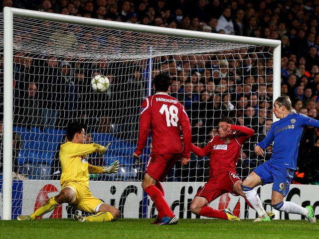Fernando Torres of Chelsea scores his team's fourth goal during the UEFA Champions League group E match between Chelsea and FC Nordsjaelland at Stamford Bridge on December 5, 2012