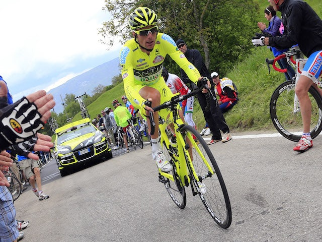 Italian Danilo Di Luca rides during the 18th stage climbing time trial of 96th Giro d'Italia from Mori to Polsa of 20,6 km on May 23, 2013