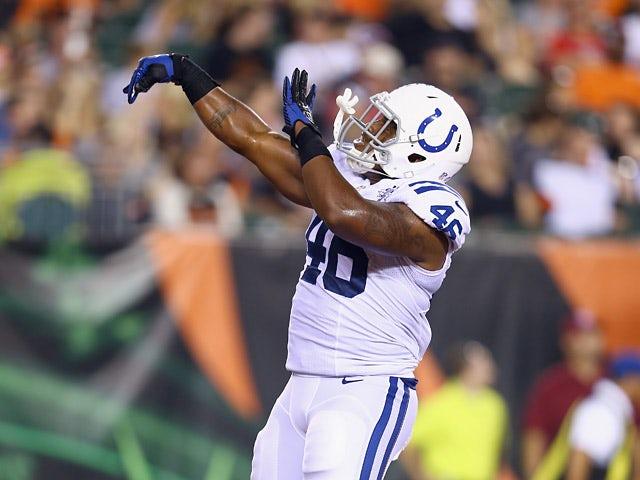 Indianapolis Colts' Dominique Jones celebrates after scoring a touchdown against Cincinnati Bengals on August 29, 2013