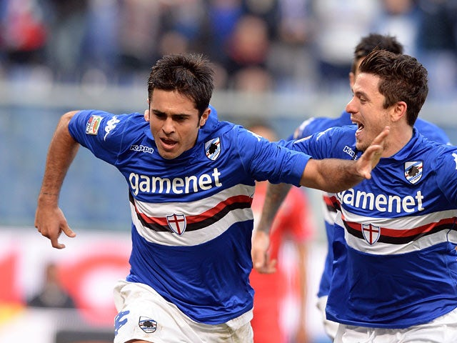 Sampdoria's Eder celebrates after scoring the opening goal against Calcio Catania during their Serie A match on December 8, 2013
