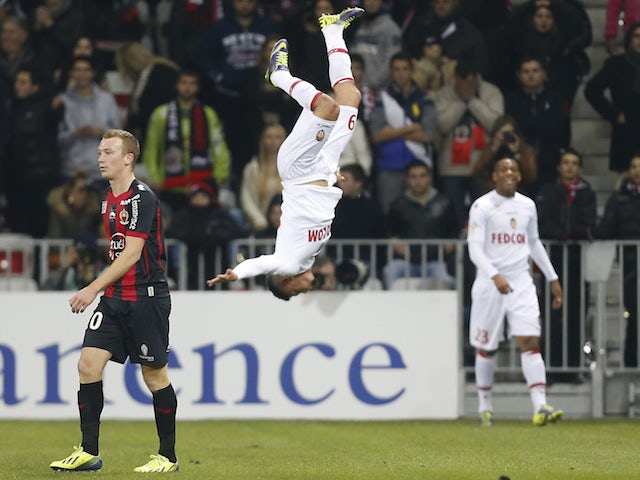 Monaco's French forward Emmanuel Riviere celebrates after scoring a goal during the French L1 football match between Nice and Monaco on December 3, 2013