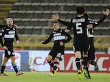Francesco Valiani of AC Siena celebrates after scoring a goal during the Tim Cup match between FC Bologna and AC Siena at Stadio Renato Dall'Ara on December 3, 2013
