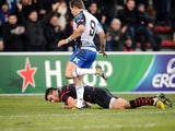 Toulouse's Jean Pascal Barraque scores a try against Connacht during their Heineken Cup match on December 8, 2013