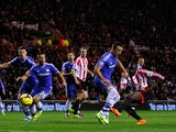 Sunderland's Jozy Altidore scores the opening goal against Chelsea during their Premier League match on December 4, 2013