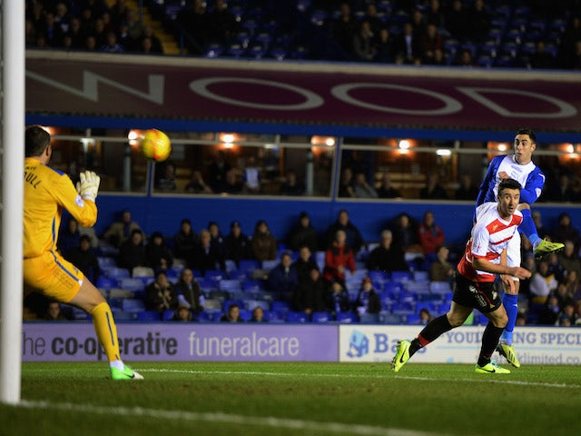 Lee Novak of Birmingham City scores to make it 1-0 during the Sky Bet Championship match between Birmingham City and Doncaster Rovers on December 3, 2013