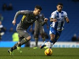 Brighton's Liam Bridcutt and Leicester's David Nugent in action during their Championship match on December 7, 2013