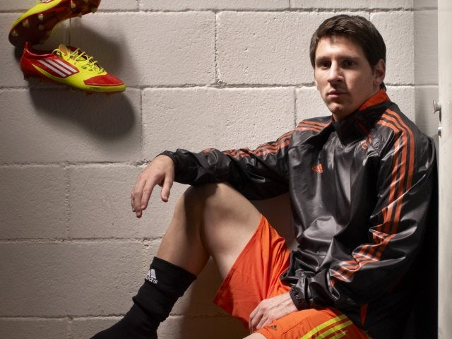 Lionel Messi poses for the cover of Guillem Balague's book 'Messi'.