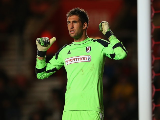 Maarten Stekelenburg of Fulham looks on during the Barclays Premier League match between Southampton and Fulham at St Mary's Stadium on October 26, 2013