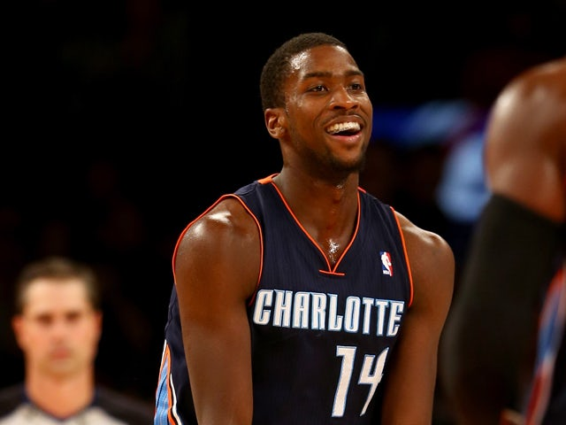 Michael Kidd-Gilchrist #14 of the Charlotte Bobcats celebrates late in the fourth quarter against the New York Knicks at Madison Square Garden on November 5, 2013