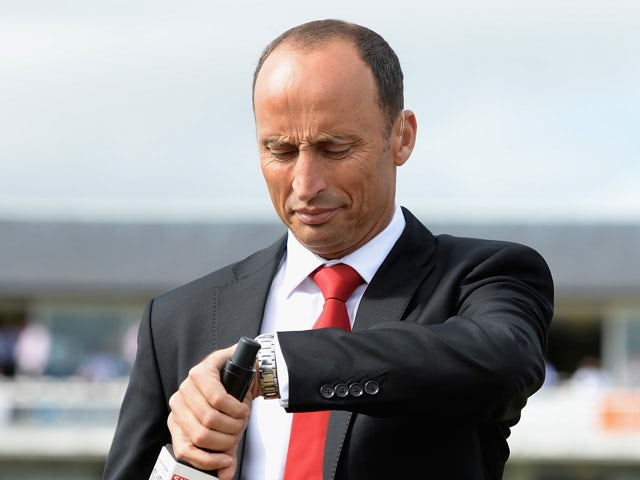 Skysports presenter Nasser Hussain during day one of 4th Investec Ashes Test match between England and Australia at Emirates Durham ICG on August 09, 2013