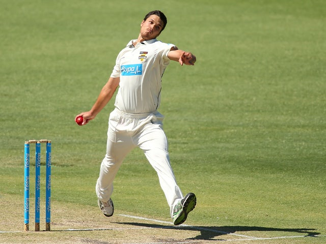 Nathan Coulter-Nile of the Warriors bowls during day two of the Sheffield Shield match between the Western Australia Warriors and the Victoria Bushrangers at the WACA on November 23, 2013