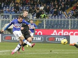 Nenad Krsticic of UC Sampdoria scores a goal during the Tim Cup match between UC Sampdoria and Hellas Verona FC at Stadio Luigi Ferraris on December 5, 2013