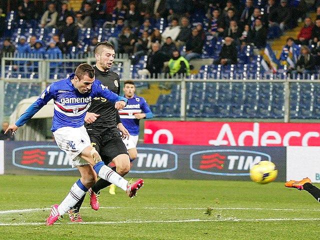 Nenad Krsticic of UC Sampdoria scores a goal during the Tim Cup match between UC Sampdoria and Hellas Verona FC at Stadio Luigi Ferraris on December 5, 2013