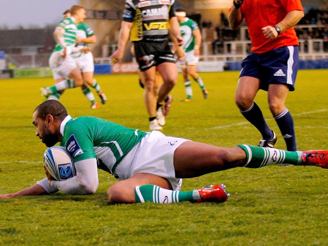 Newcastle Falcons' Noah Cato scores a try against Calvisano during their Amlin Challenge Cup match on December 8, 2013