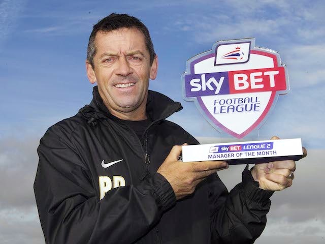 Southend United boss Phil Brown with his League Two Manager of the Month award on December 5, 2013