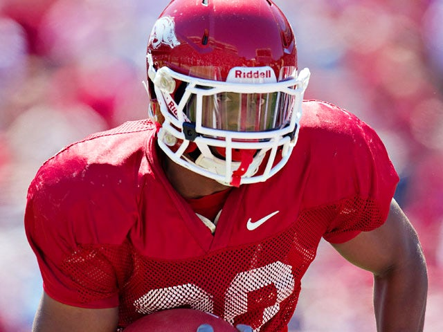 Arkansas Razorbacks' Ronnie Wingo in action during the Spring Game on April 21, 2012