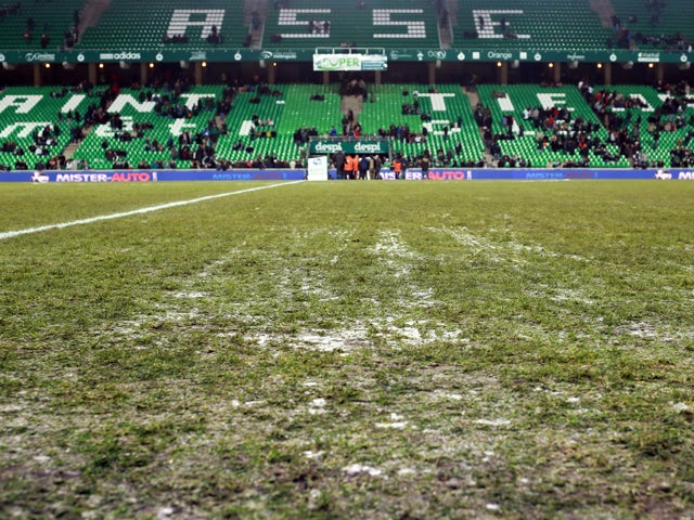 A view of the frozen playing field of the Geoffroy-Guichard stadium in Saint-Etienne, on December 7, 2013