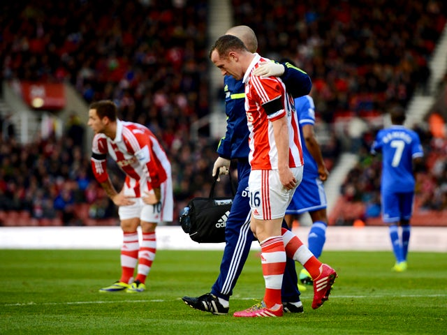 Charlie Adam of Stoke is substituted in the first half during the Barclays Premier League match between Stoke City and Chelsea at Britannia Stadium on December 7, 2013