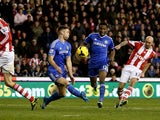 Stephen Ireland of Stoke scores their second goal during the Barclays Premier League match between Stoke City and Chelsea at Britannia Stadium on December 7, 2013