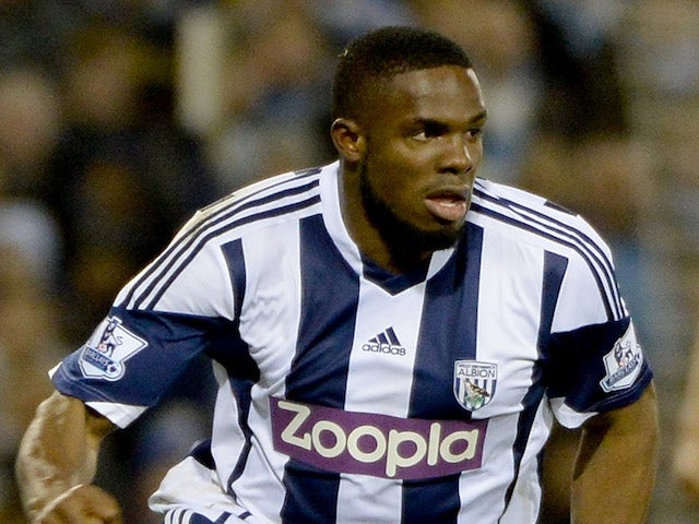 Victor Anichebe of West Bromwich Albion in action during the Barclays Premier League match between West Bromwich Albion and Manchester City at The Hawthorns on December 4, 2013