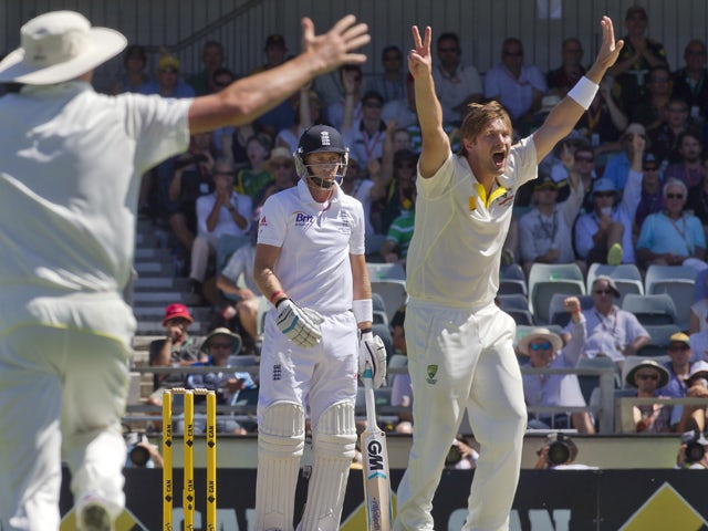 Australian bowler Shane Watson appeals the wicket of England batsman Joe Root on the second day of the third Ashes cricket Test match in Perth on December 14, 2013