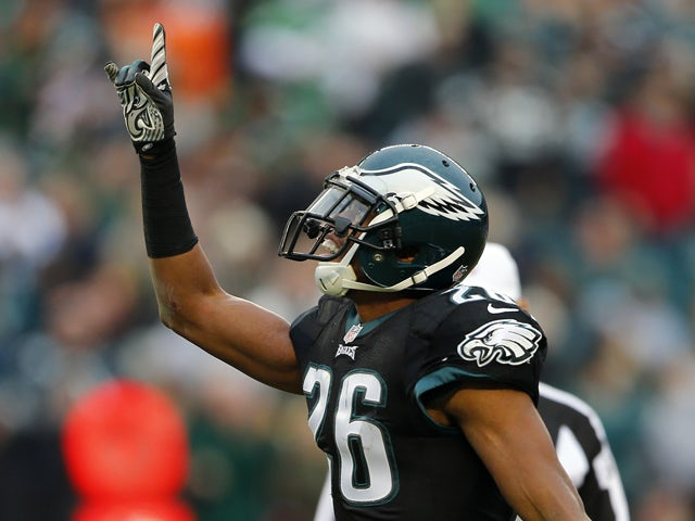Cornerback Cary Williams #26 of the Philadelphia Eagles reacts after making an interception intended for wide receiver Andre Roberts #12 of the Arizona Cardinals in the third quarter during a game at Lincoln Financial Field on December 1, 2013