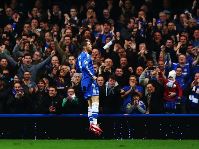Fernando Torres of Chelsea celebrates scoring during the Barclays Premier League match between Chelsea and Crystal Palace at Stamford Bridge on December 14, 2013