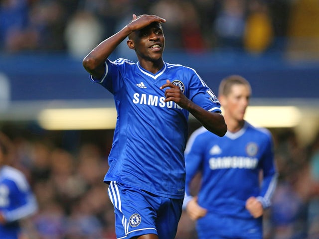 Ramires of Chelsea celebrates scoring their second goal during the Barclays Premier League match between Chelsea and Crystal Palace at Stamford Bridge on December 14, 2013